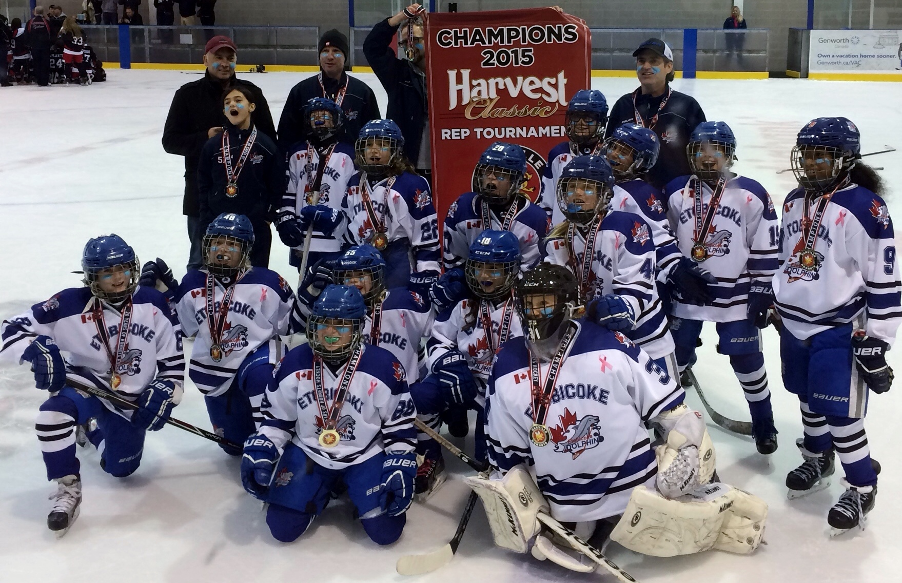 Etobicoke Dolphins ATOM BB win GOLD at the Oakville Harvest Classic!